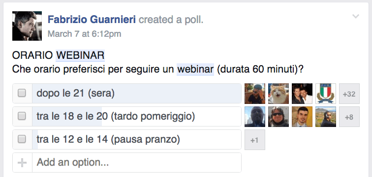 sondaggio facebook campagna di lancio