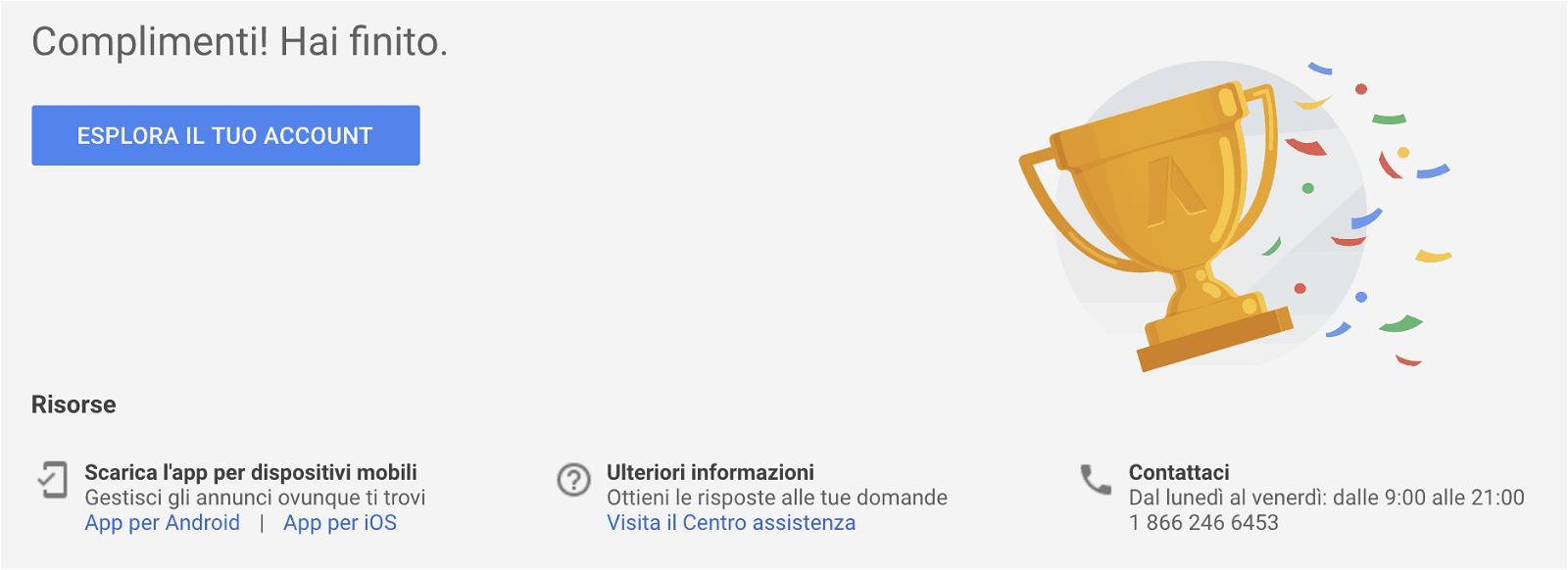 configurazione account google ads terminata