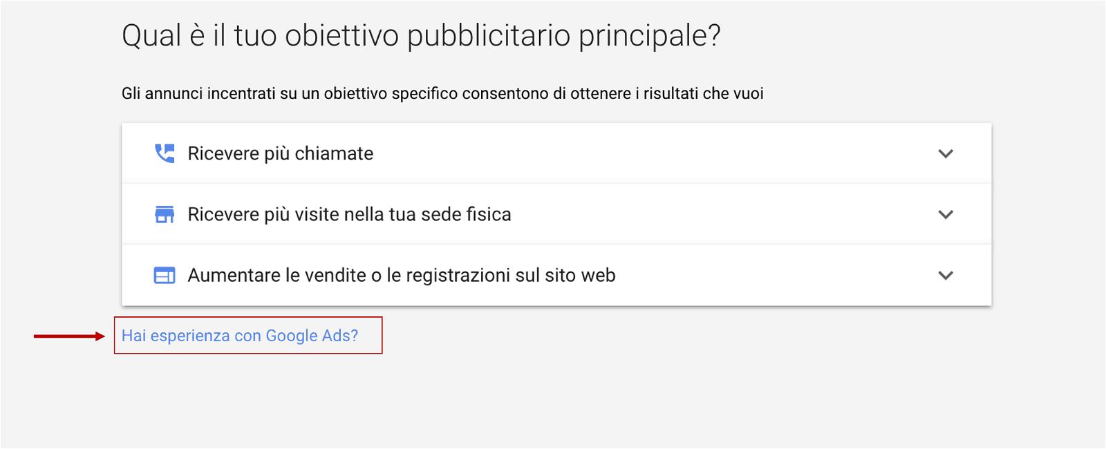 configurazione base account google ads