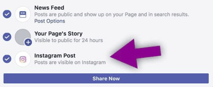 cross posting facebook instagram