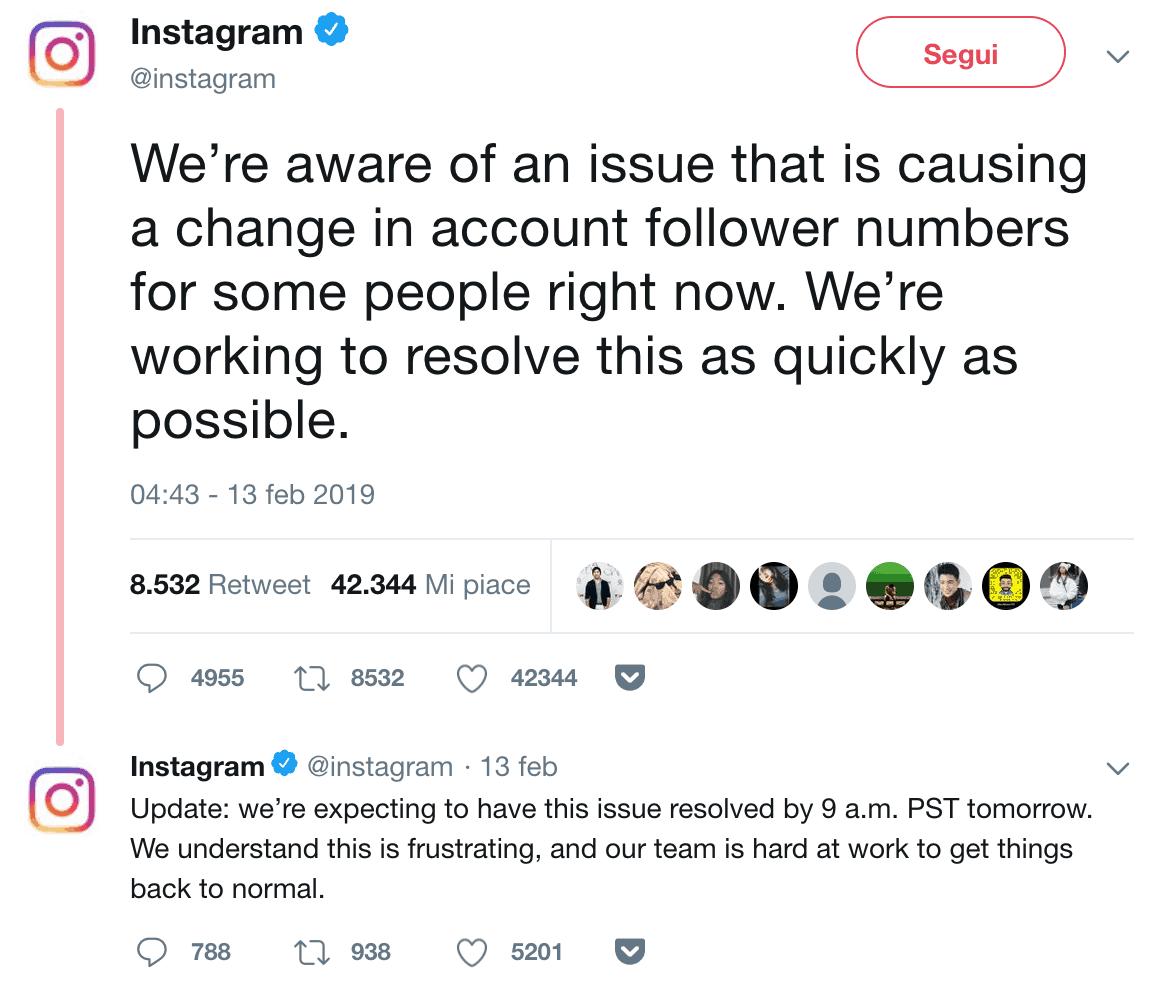 Instagram aggiornamento bug