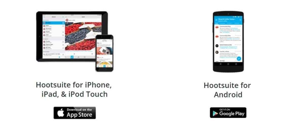 Screen delle mobile app di hootsuite per iphone e android