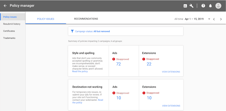 Anteprima Policy Manager Google Ads