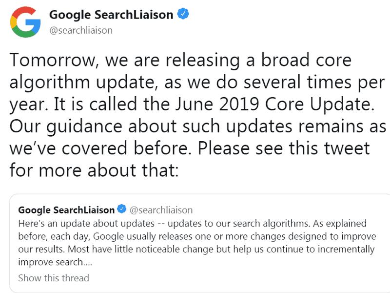 tweet broad core update giugno