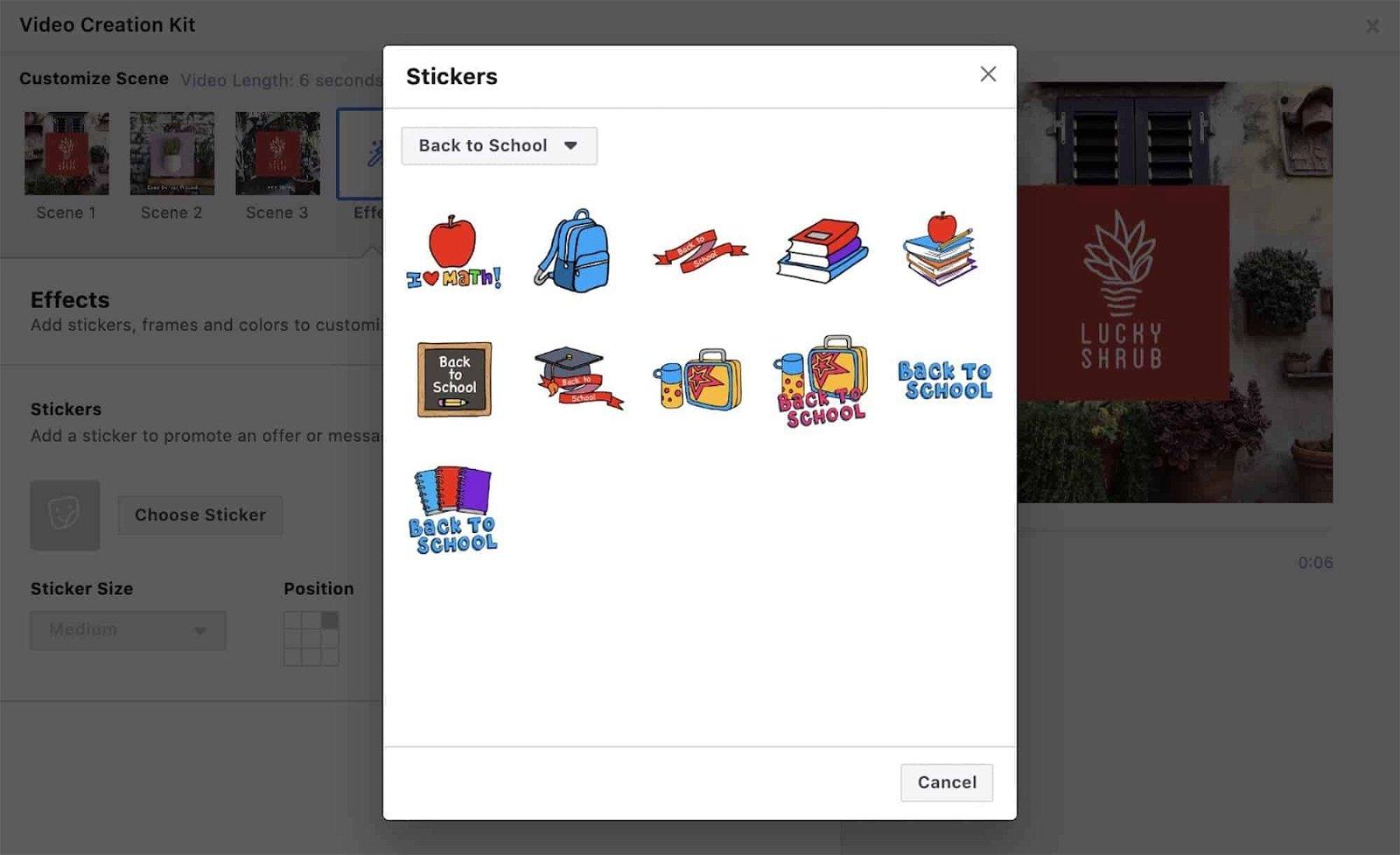 Facebook sticker ads stagionali