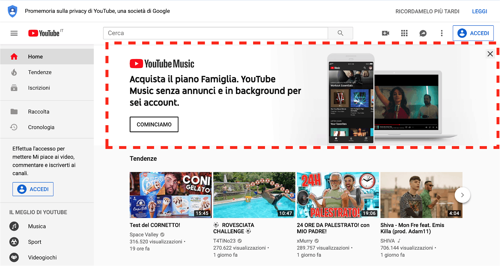 YouTube Masthead Ad screenshot