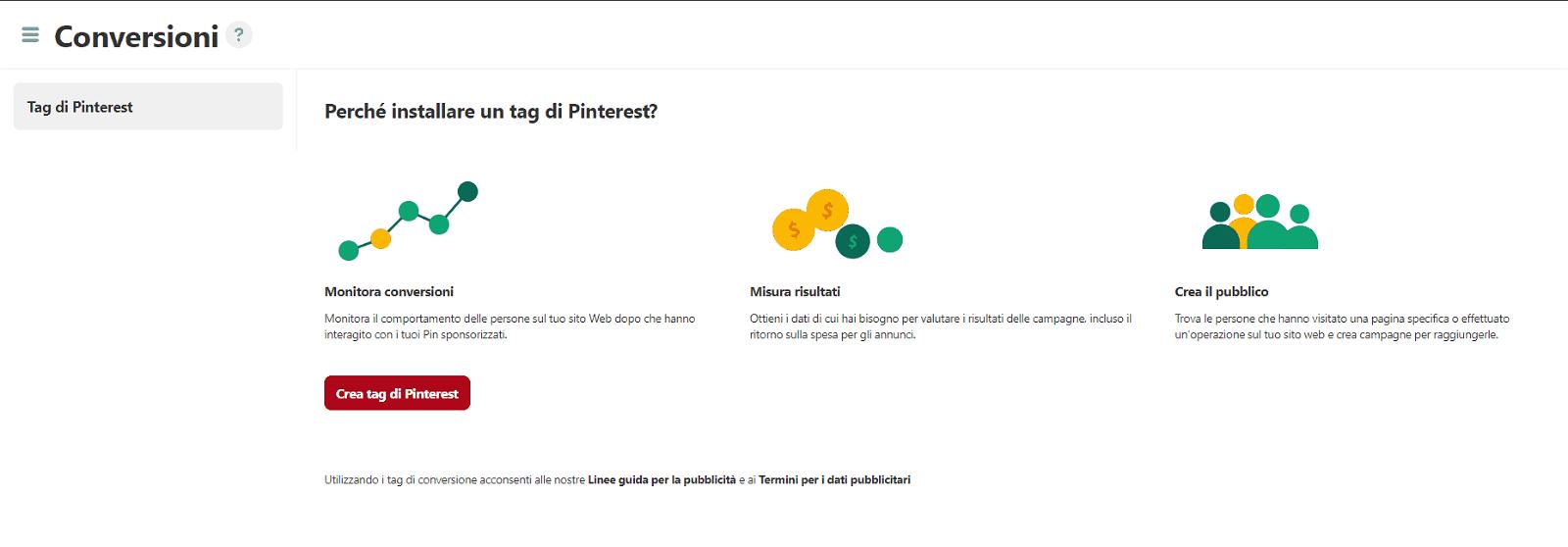 codice tracciamento Pinterest
