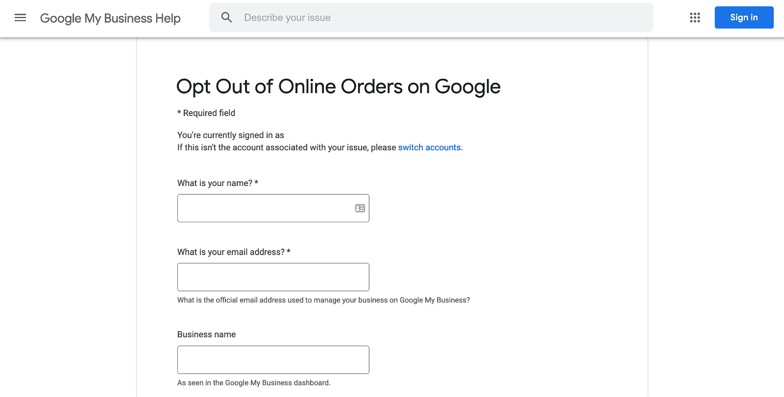 opt out google food delivery