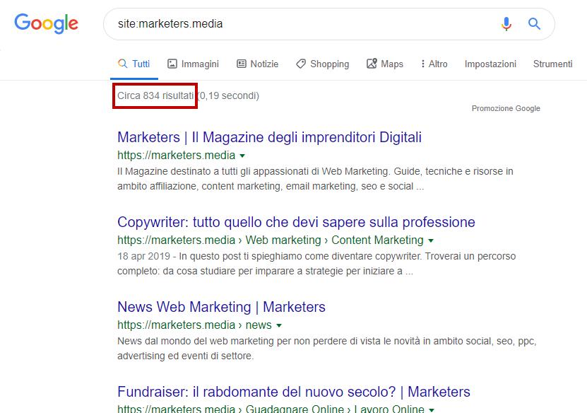 verifica pagine indicizzate su google