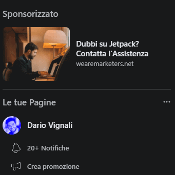 Facebook Ads su Colonna Destra