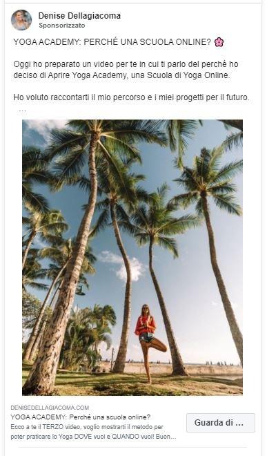 Facebook ads yoga academy retargeting