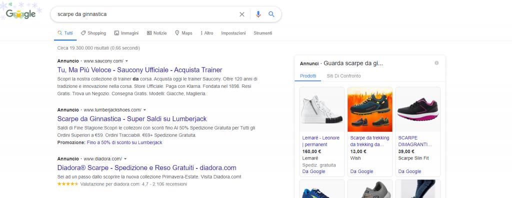 Google Ads annunci esempi