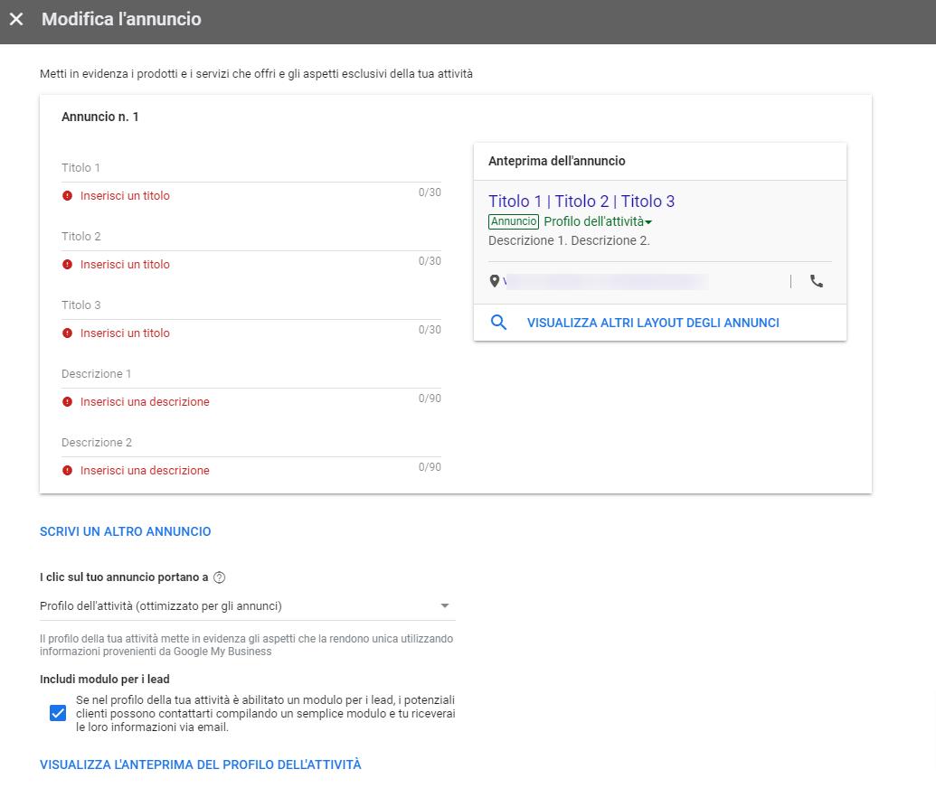 Google-Ads annunci interfaccia