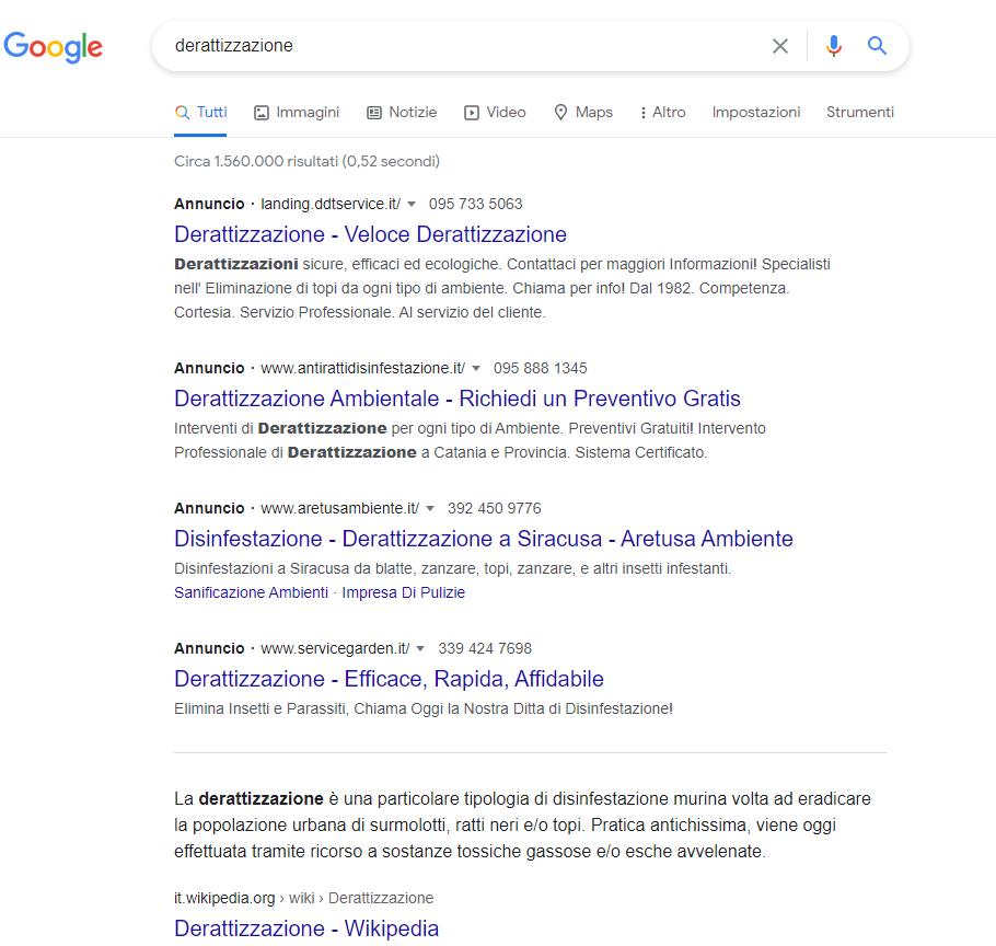 Google Ads annunci sopra SERP