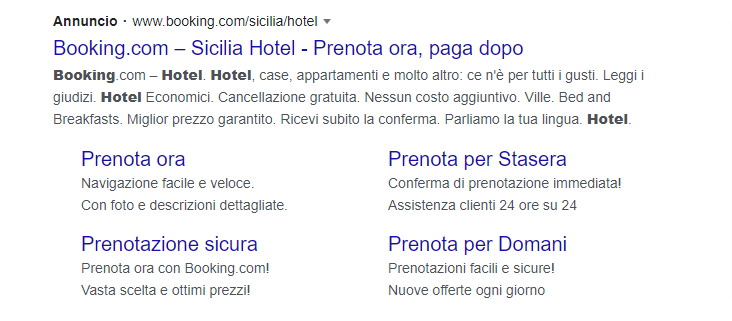 Google Ads estensione snippet strutturato
