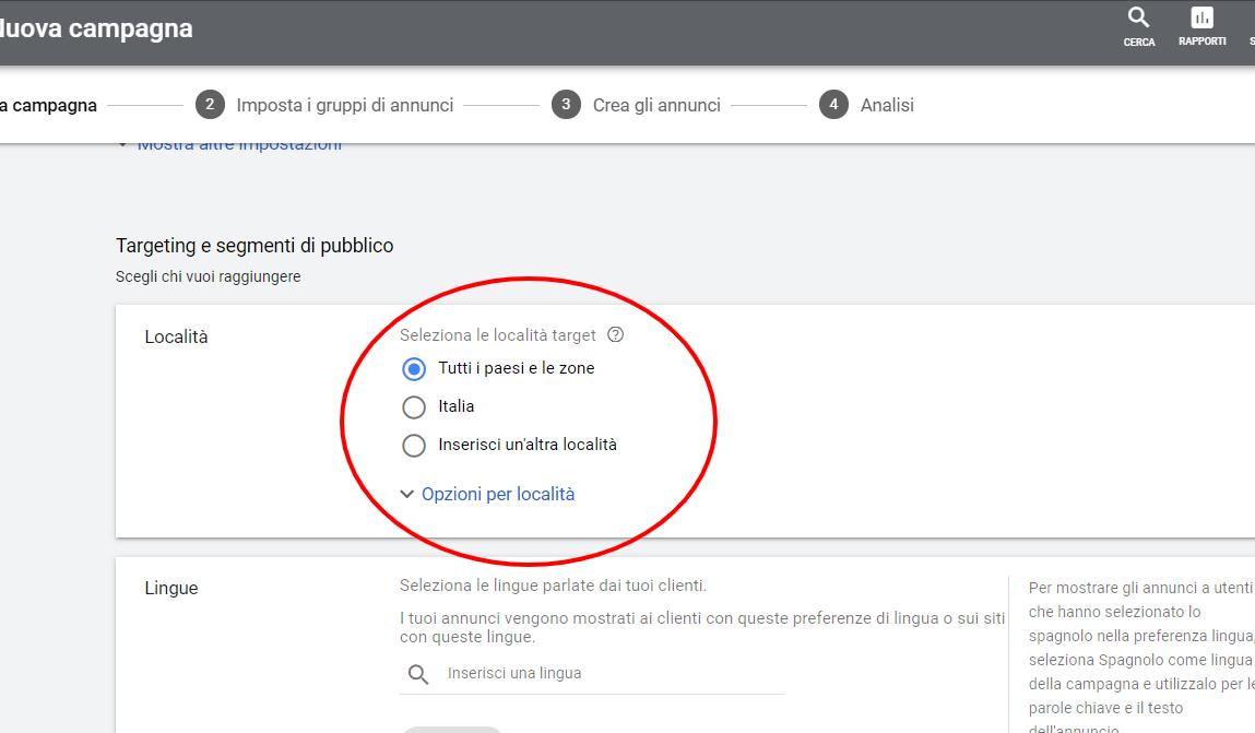 Google-Ads rete search zone