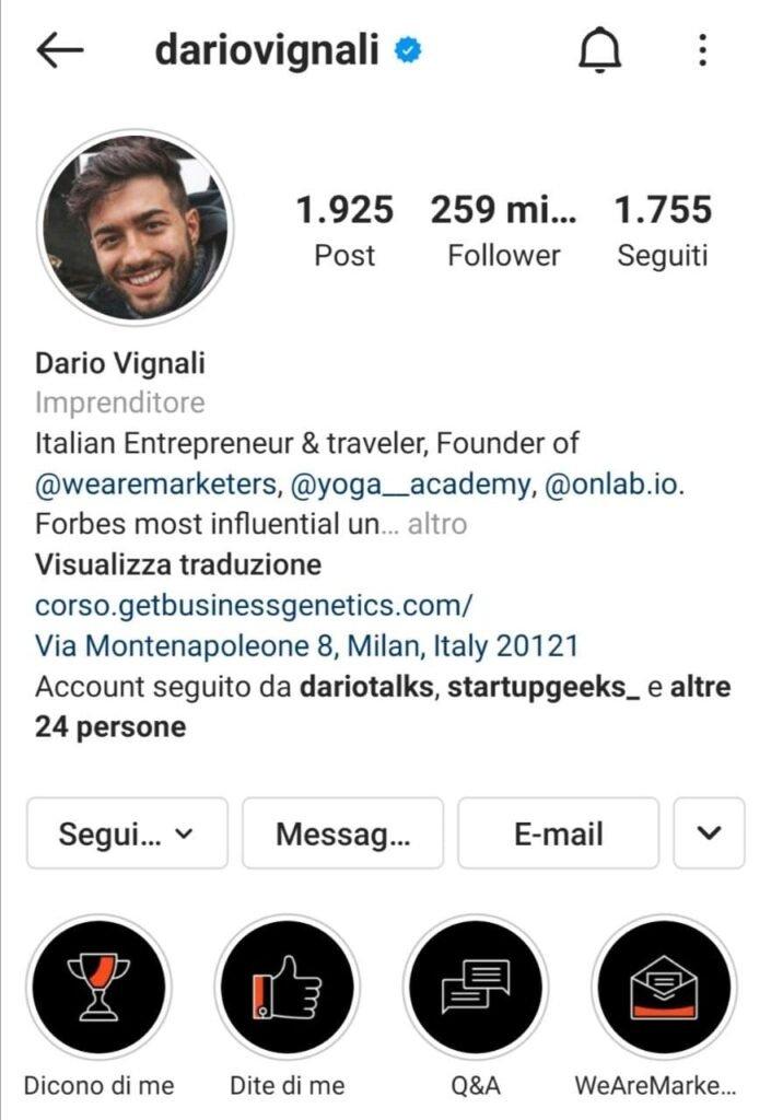 Guida Instagram bio Dario