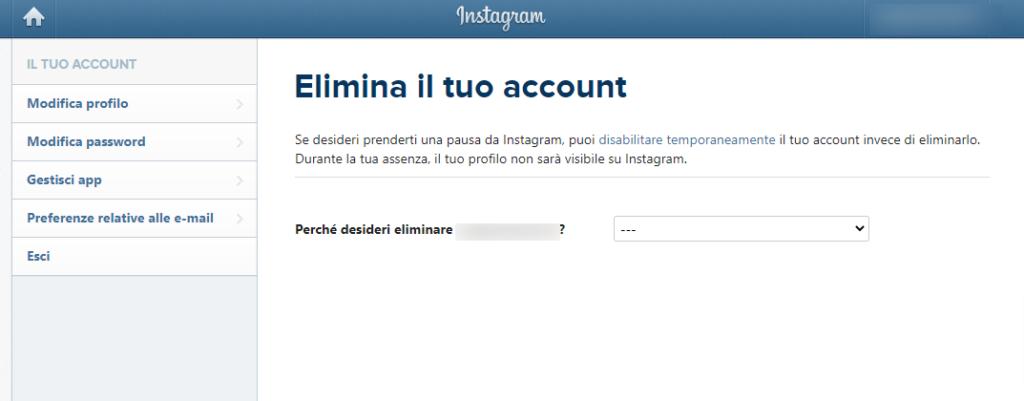 Guida Instagram eliminazione account
