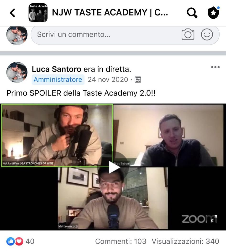 Screenshot Diretta gruppo Facebook Taste Academy