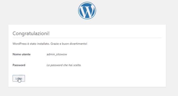 congratulazioni hai installato WordPress