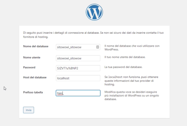 connettere WordPress al database