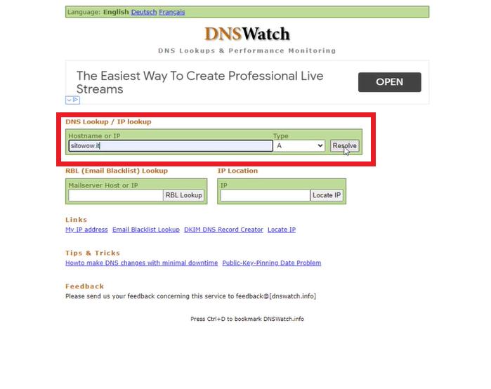controllo propagazione DNS