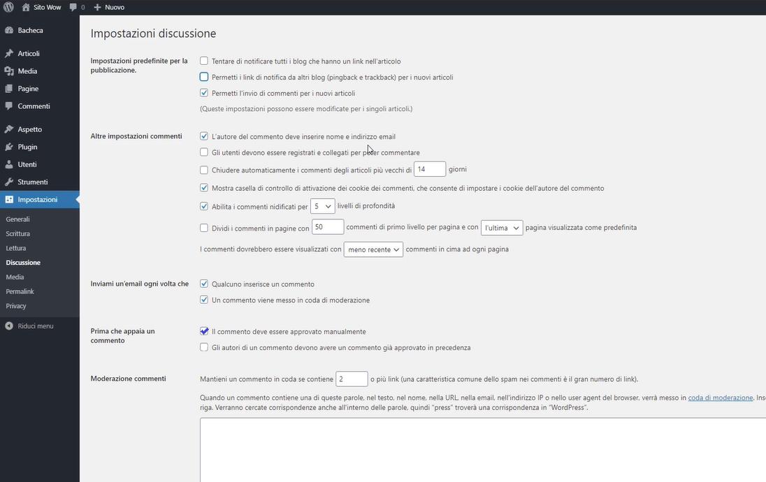 impostazione discussioni WordPress