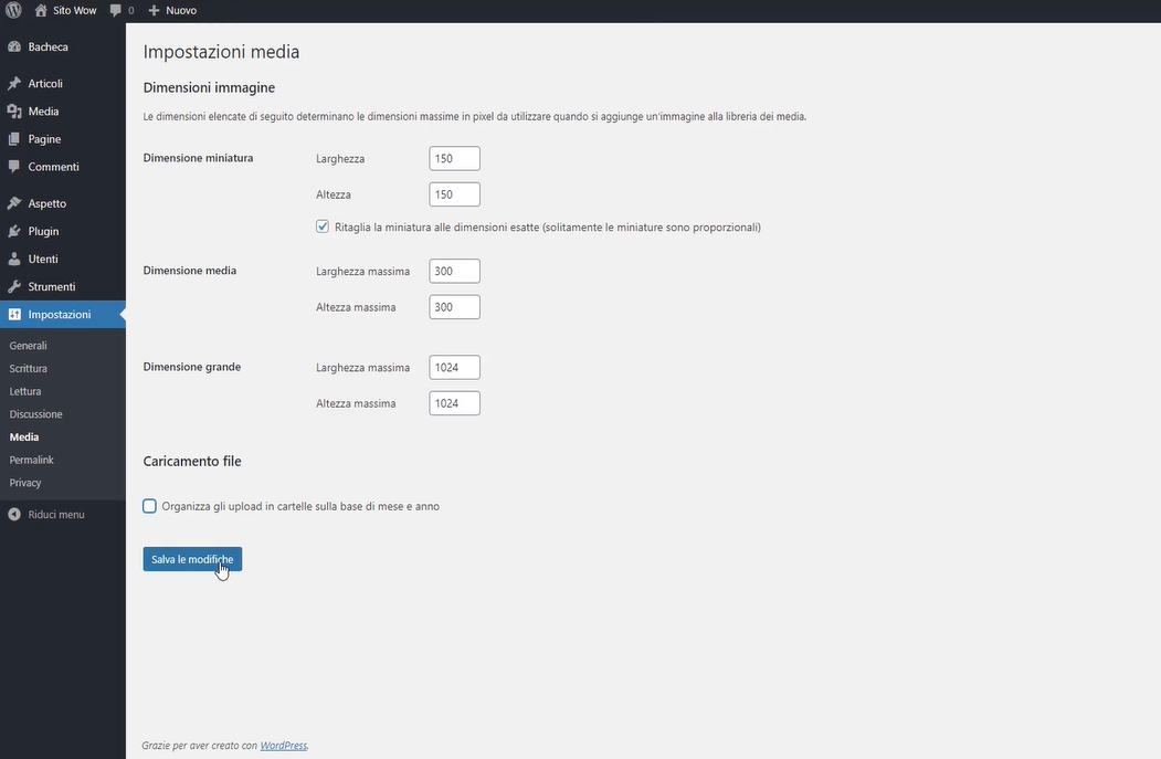 impostazioni media WordPress