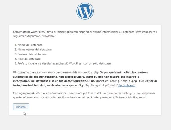 iniziamo l'installazione di WordPress