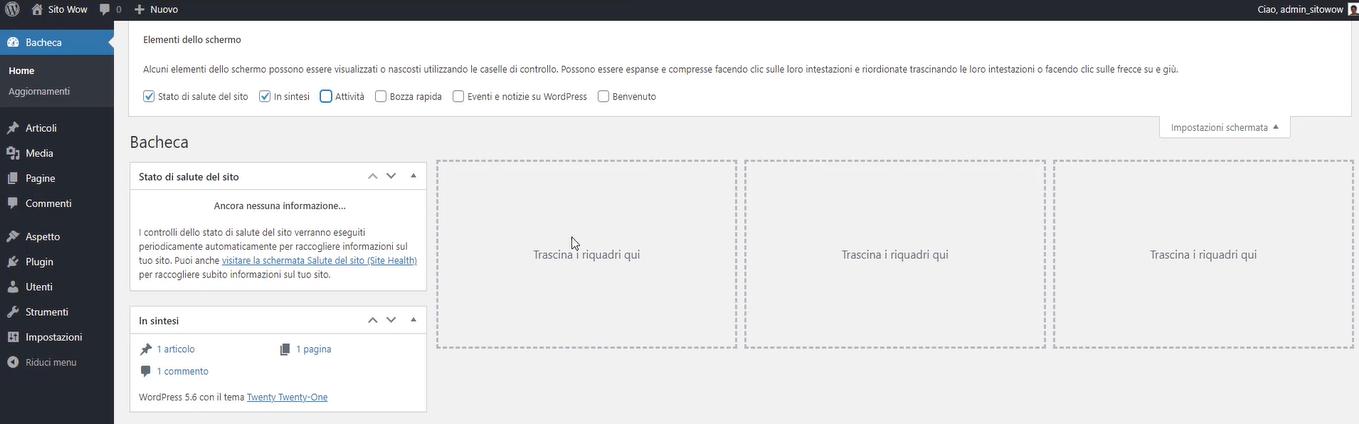 opzioni schermo WordPress
