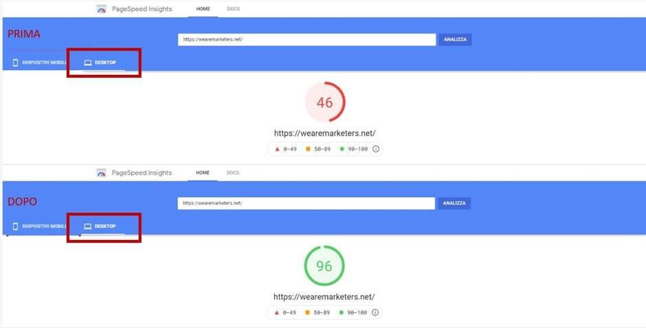 test performance desktop prima e dopo plugin