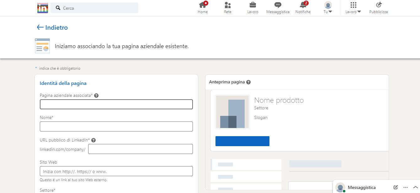 informazioni richieste per creare pagina aziendale