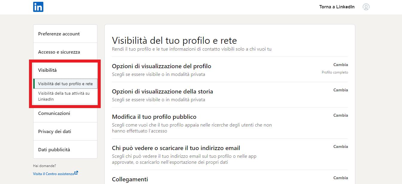 visibilità del tuo profilo